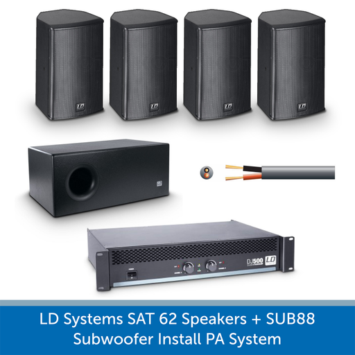 LD Systems SAT 62 Speakers with SUB 88 Subwoofer Install PA System