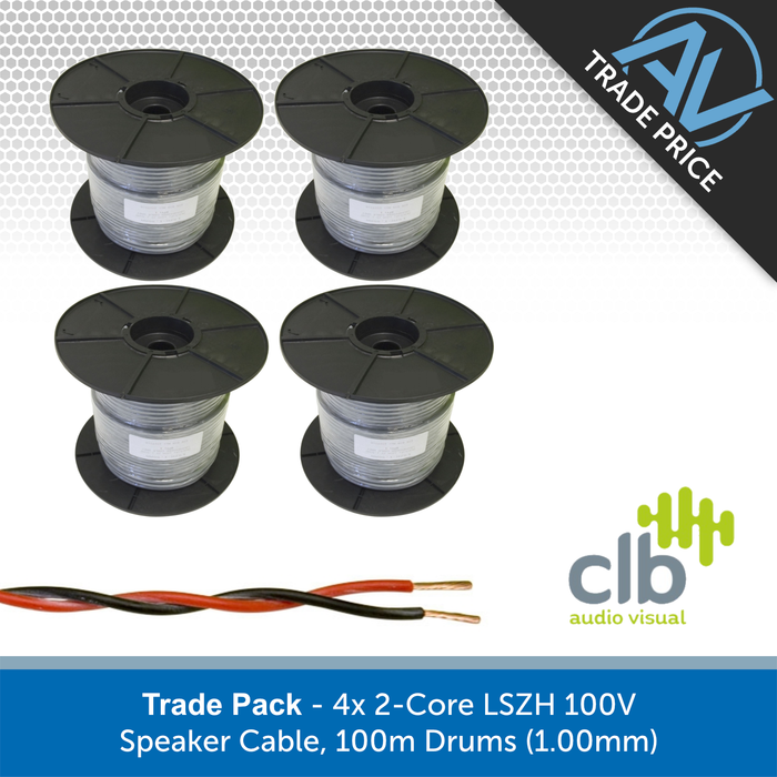 Trade Pack - 4x 2-Core LSZH 100V Speaker Cable, 100m Drums (1.00mm)