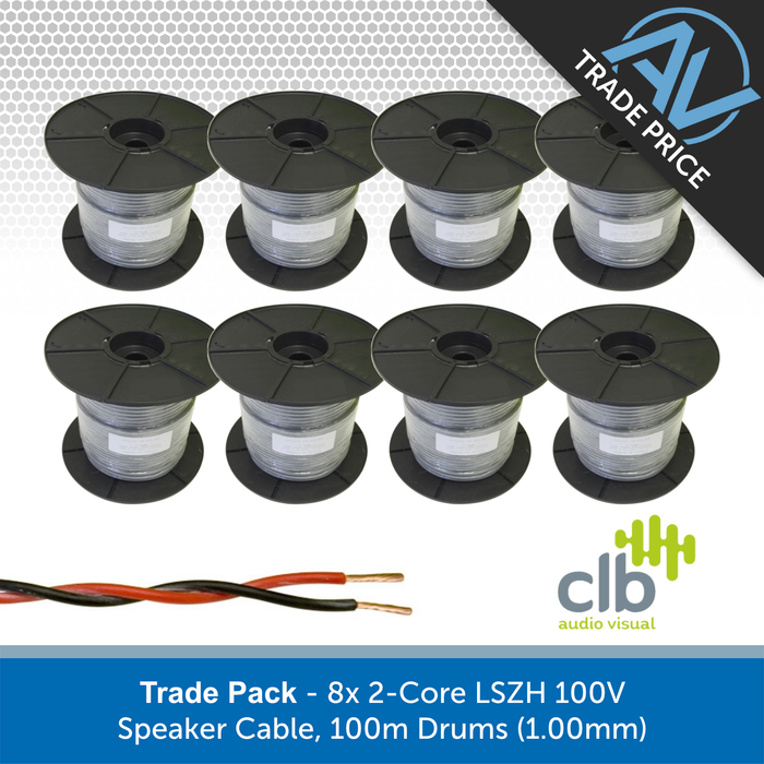 Trade Pack - 8x 2-Core LSZH 100V Speaker Cable, 100m Drums (1.00mm)