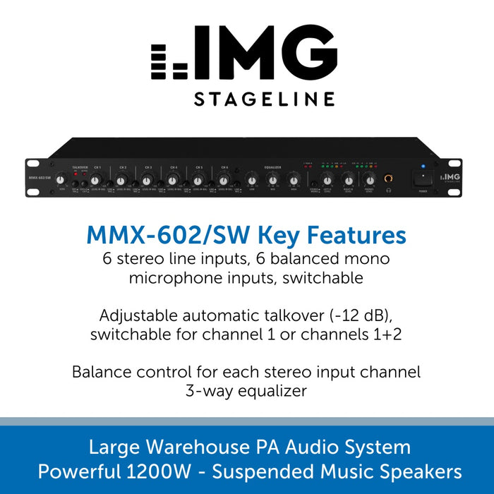 Large Warehouse PA Audio System - Powerful 1200W Suspended high-quality Music Speakers