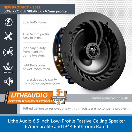 Lithe Audio 6.5 Inch Low-Profile Passive Ceiling Speaker - 67mm profile & IP44 Bathroom Rated