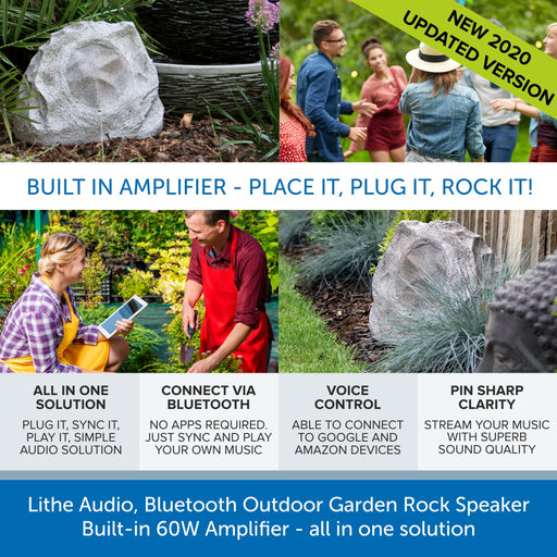 Lithe Audio, Garden Rock Speaker - Bluetooth & Built-in 60W Amplifier
