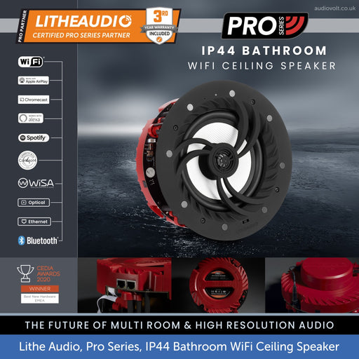 Lithe Audio, PRO Series, IP44 Bathroom - WiFi & Bluetooth Ceiling Speaker