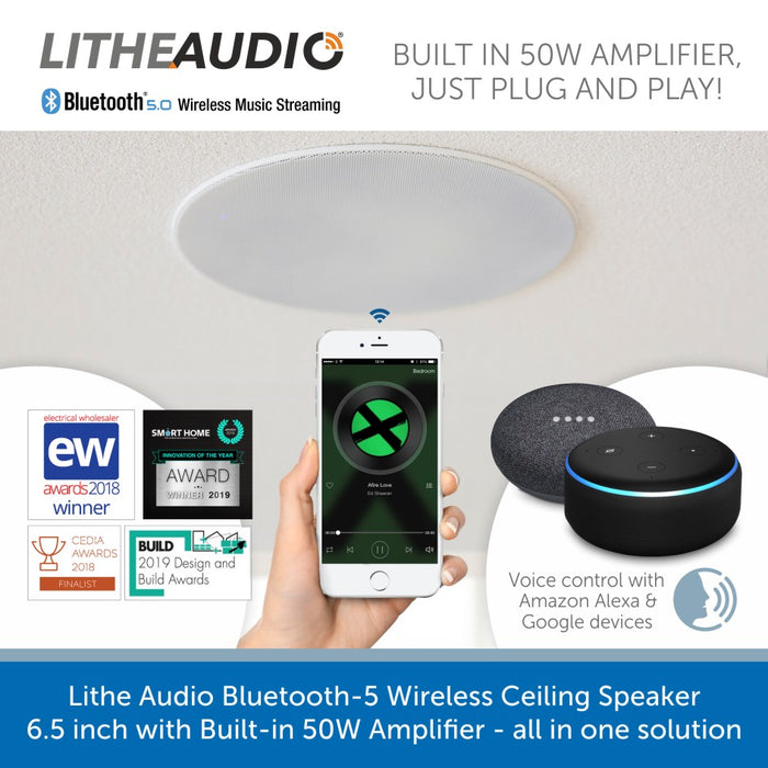Easy connect a Lithe Audio Bluetooth 5 Wireless Ceiling Speaker 6.5 inch