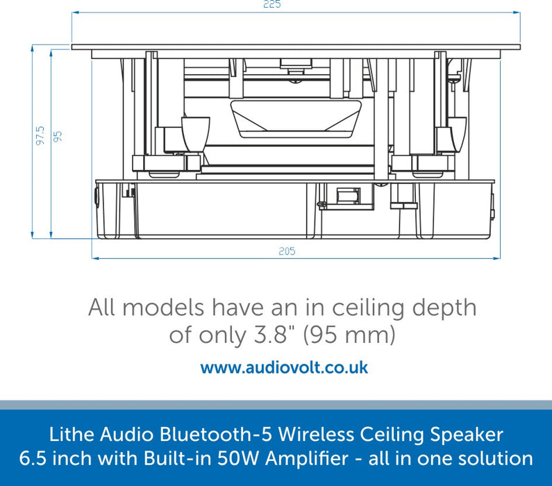 Size diagram for a Lithe Audio Bluetooth 5 Wireless Ceiling Speaker 6.5 inch