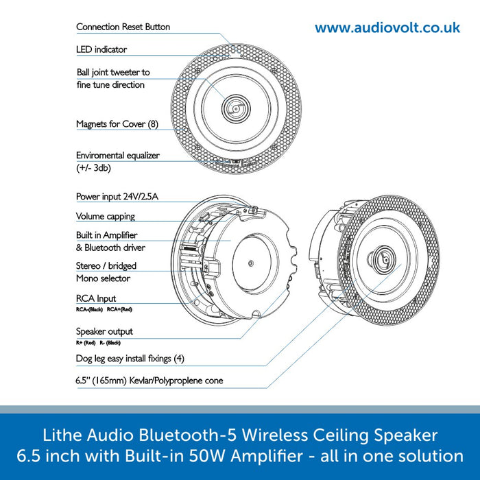 Outline image for a Lithe Audio Bluetooth 5 Wireless Ceiling Speaker 6.5 inch