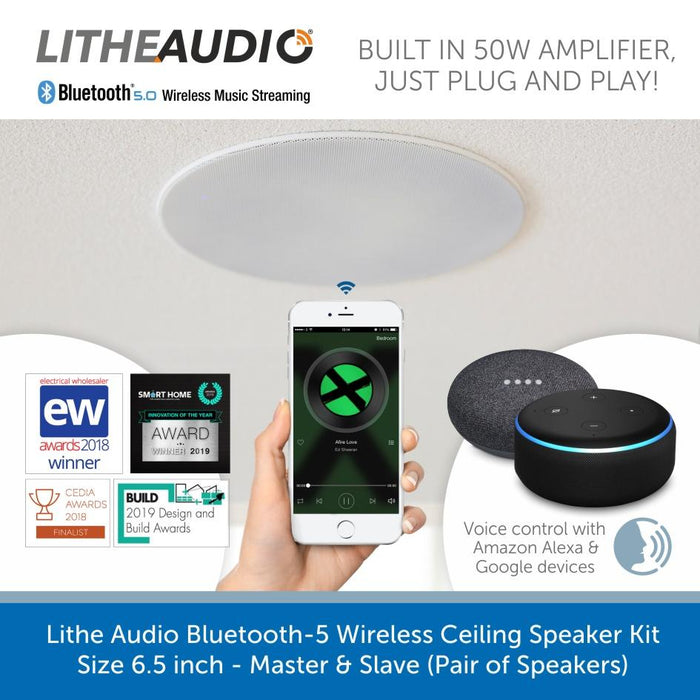 Easy pair a Lithe Audio Bluetooth-5, Wireless Ceiling Speaker Kit 6.5 inch - Master & Slave
