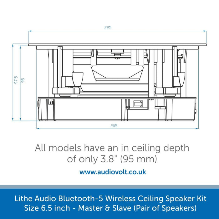 size of a Lithe Audio Bluetooth-5, Wireless Ceiling Speaker Kit 6.5 inch - Master & Slave