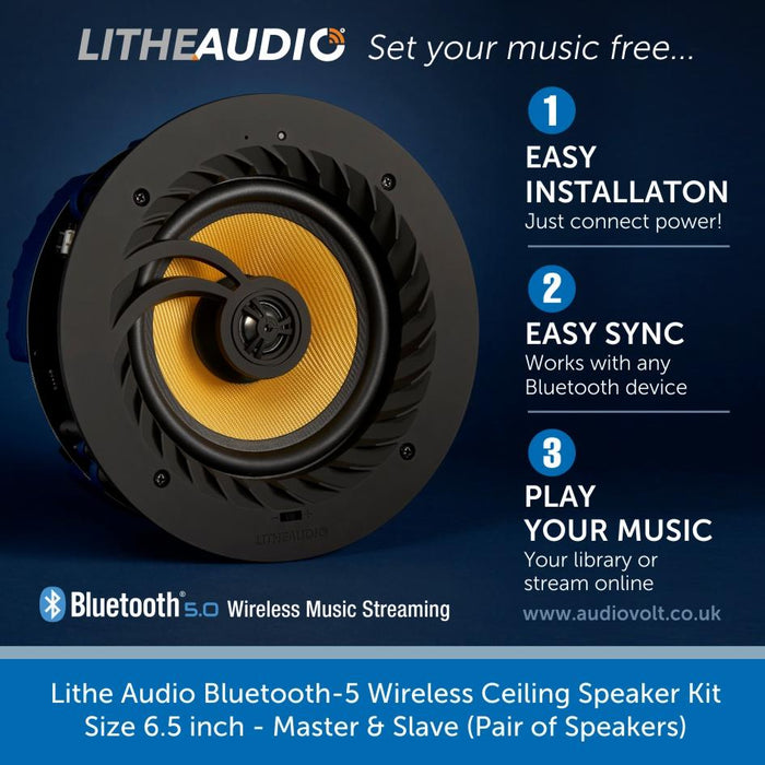 Lithe Audio Bluetooth-5, Wireless Ceiling Speaker Kit