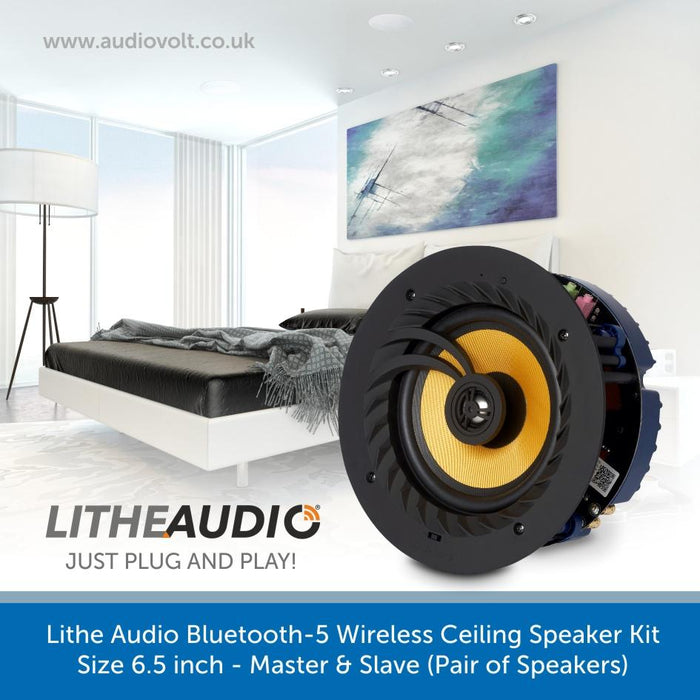 Lithe Audio Bluetooth-5, Wireless Ceiling Speaker Kit 6.5 inch - Master & Slave
