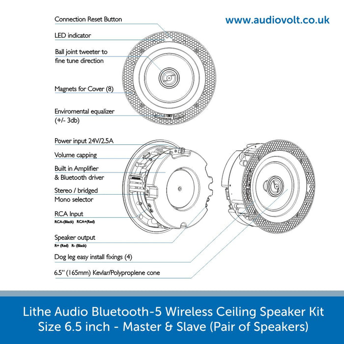 Technical features of a Lithe Audio Bluetooth-5, Wireless Ceiling Speaker Kit 6.5 inch - Master & Slave