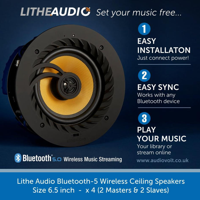Lithe Audio Bluetooth-5 Wireless Ceiling Speakers x 4 (2 Masters & 2 Slaves)