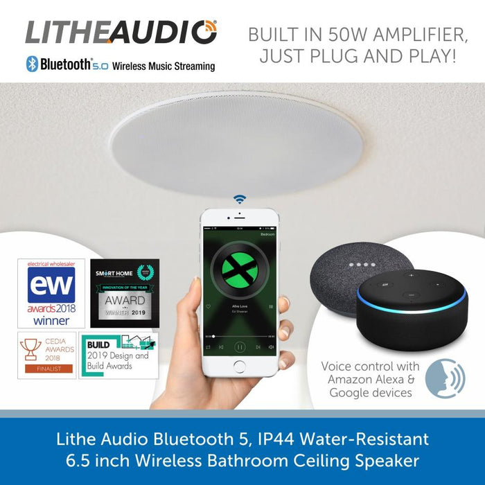 Lithe Audio Bluetooth 5, IP44 Water-Resistant Wireless Bathroom Ceiling Speaker