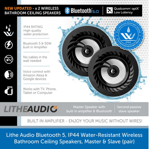 Lithe Audio Bluetooth 5, IP44 Water-Resistant Wireless Bathroom Ceiling Speakers, Master & Slave (pair)
