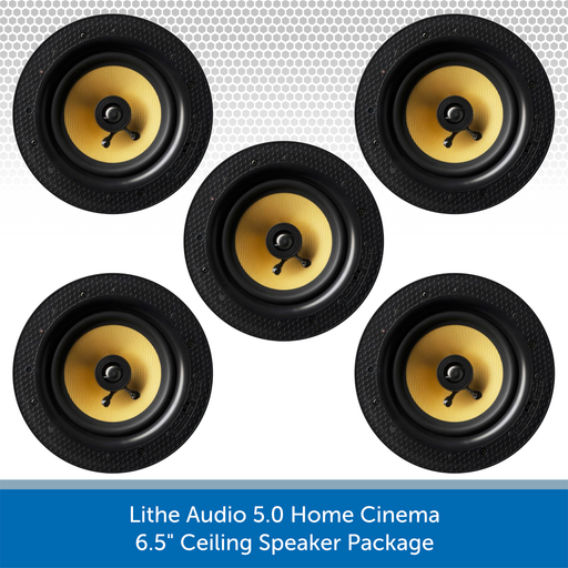 Lithe Audio 5.0 Home Cinema Package - 6.5 inch Passive Ceiling Speakers x 5