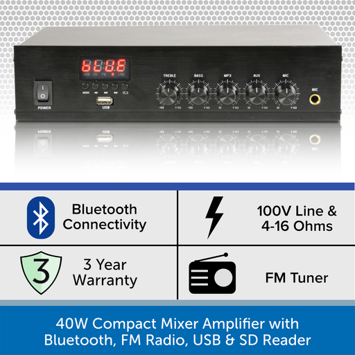 40W Compact Mixer Amplifier with Bluetooth, FM Radio, USB & SD Reader
