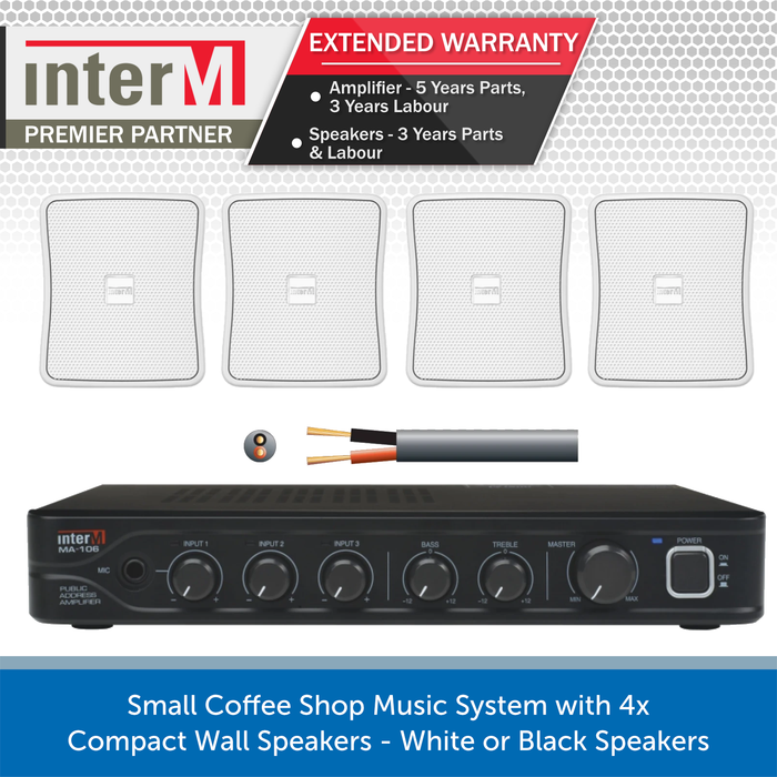 Small Coffee Shop Music System with 4x Compact Wall Speakers - White or Black Speakers