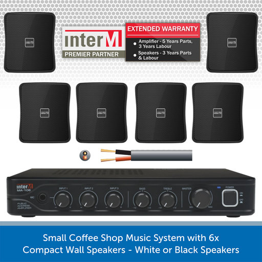 Small Coffee Shop Music System with 6x Compact Wall Speakers - White or Black Speakers