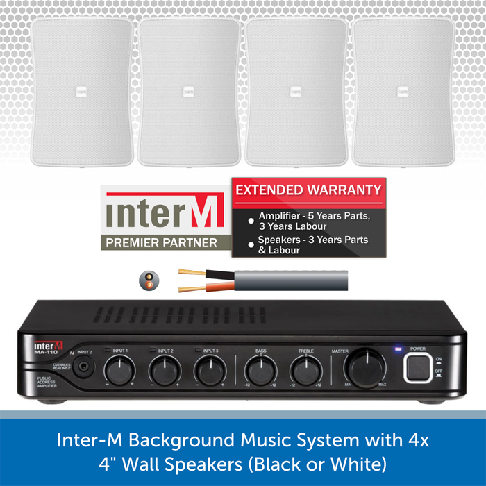 "Inter-M Background Music System with 4x 4"" Wall Speakers (Black or White)"