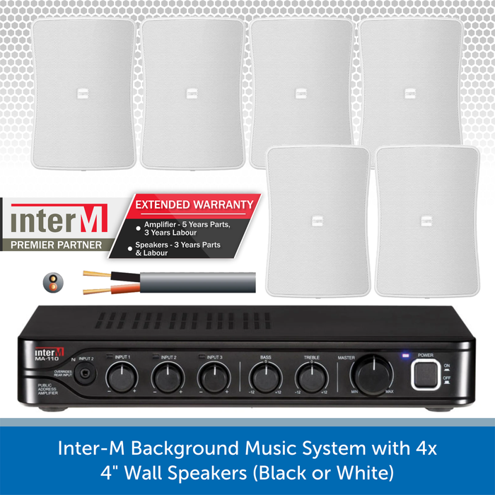 "Inter-M Background Music System with 6x 4"" Wall Speakers (Black or White)"