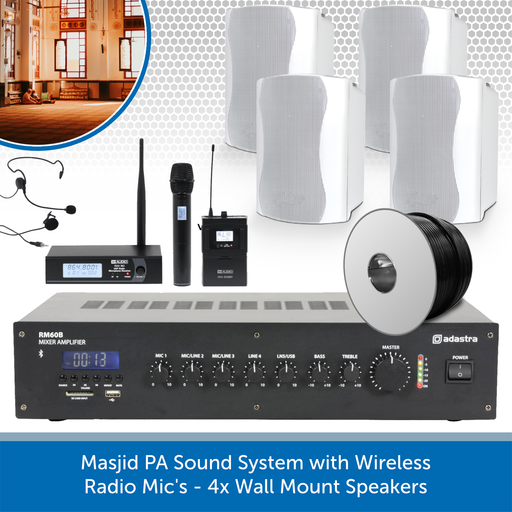 Masjid PA Sound System with Wireless Radio Mic's - 4x Wall Mount Speakers