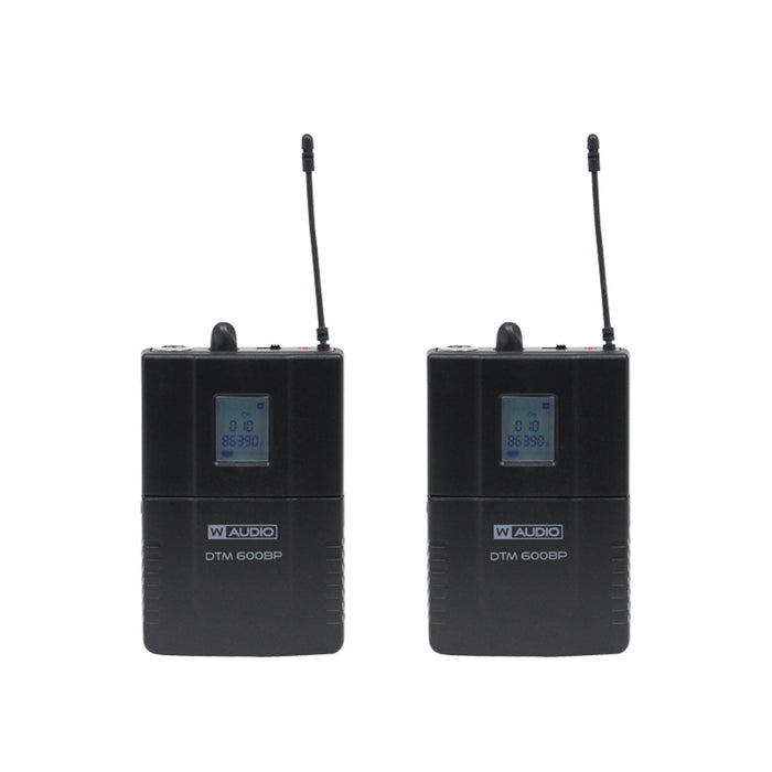 W-Audio DTM 600 Twin Beltpack UHF Wireless Mic System (606.0mHz-614.0mHz)