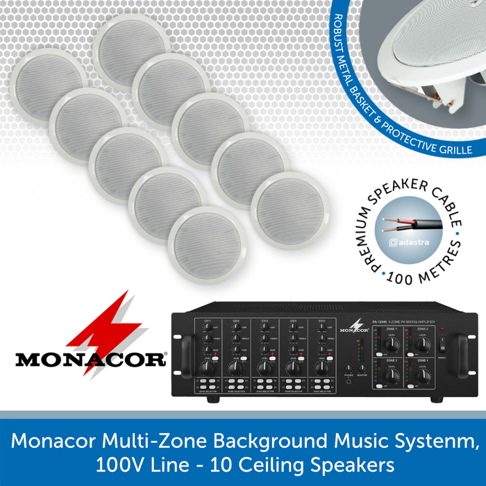 Monacor 4-Zone Background Music System with Volume Control & Source Selection - 10 Speakers
