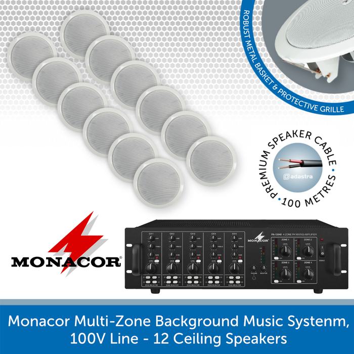 Monacor 4-Zone Background Music System with Volume Control & Source Selection - 12 Ceiling Speakers