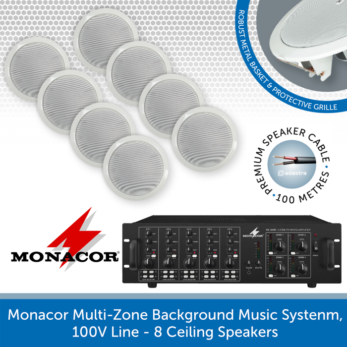 Monacor 4-Zone Background Music System with Volume Control & Source Selection - 8 Speakers