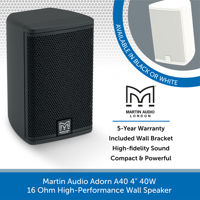 "Martin Audio Adorn A40 4"" 40W 16 Ohm High-Performance Wall Speaker"