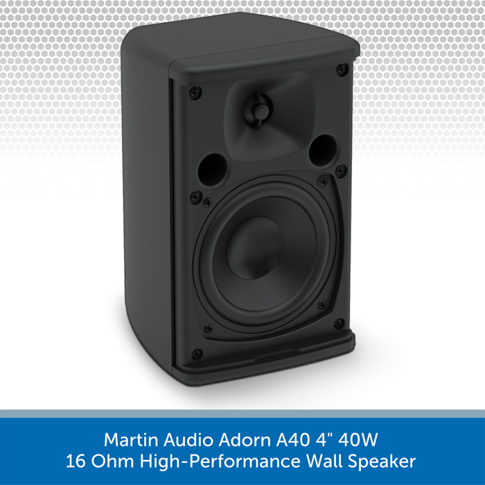 "Martin Audio Adorn A40 4"" 40W 16 Ohm High-Performance Wall Speaker NO Grille"