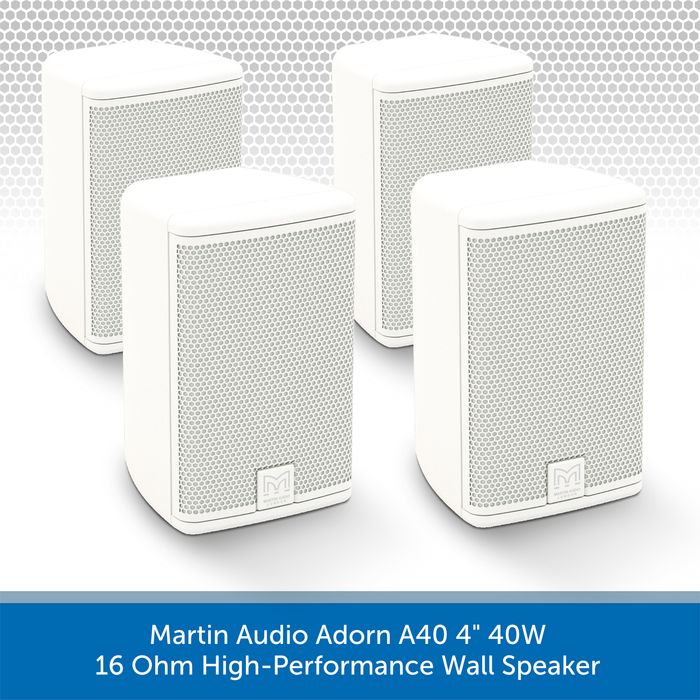 "Martin Audio Adorn A40 4"" 40W 16 Ohm High-Performance Wall Speaker 4 pack"