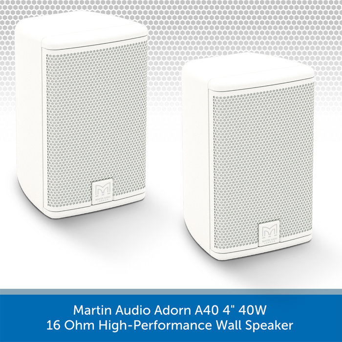 "Martin Audio Adorn A40 4"" 40W 16 Ohm High-Performance Wall Speaker Pair"