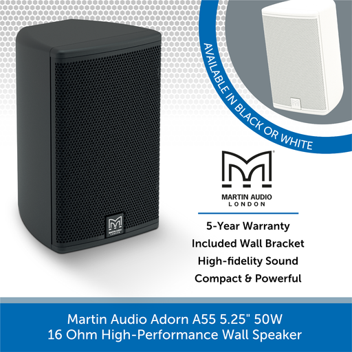 "Martin Audio Adorn A55 5.25"" 50W 16 Ohm High-Performance Wall Speaker"