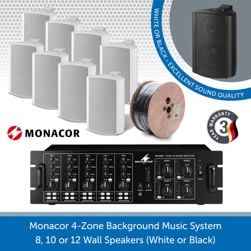 Monacor 4-Zone Background Music System with Volume Control & Source Selection