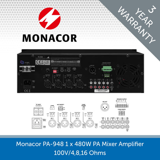 Monacor PA-948 1 x 480W PA Mixer Amplifier (100V 4, 8, & 16 Ohms)