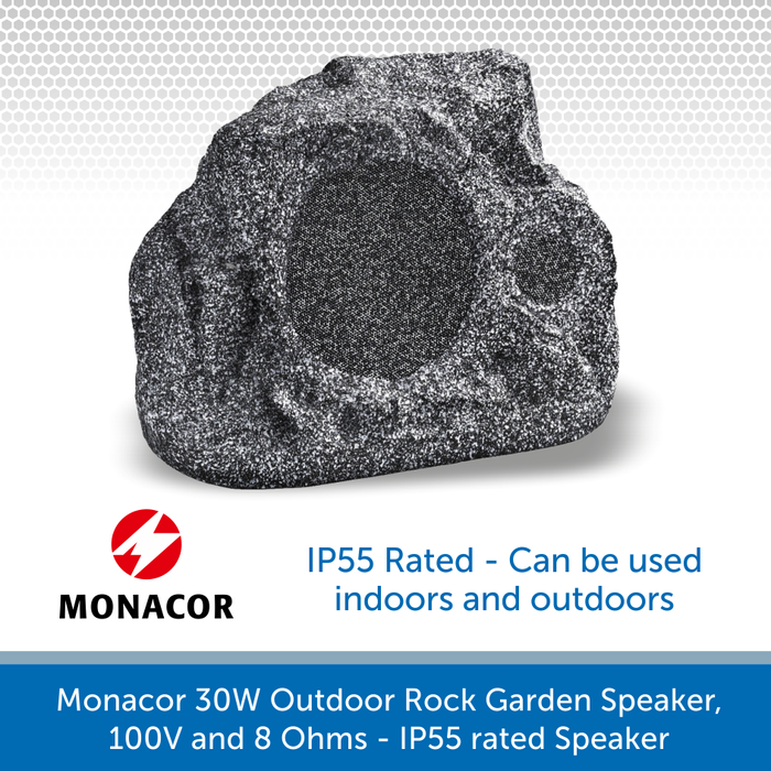 Monacor 30W Outdoor Rock Design Garden Speaker, 100V and 8 Ohms (GLS-351/GR) IP55 rated Speaker
