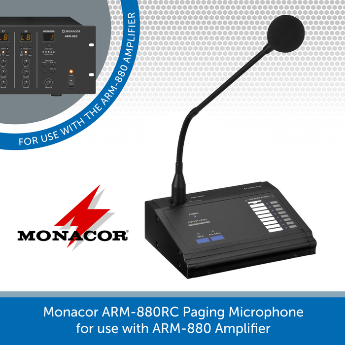 Monacor ARM-880RC Paging Microphone for use with ARM-880 Amplifier