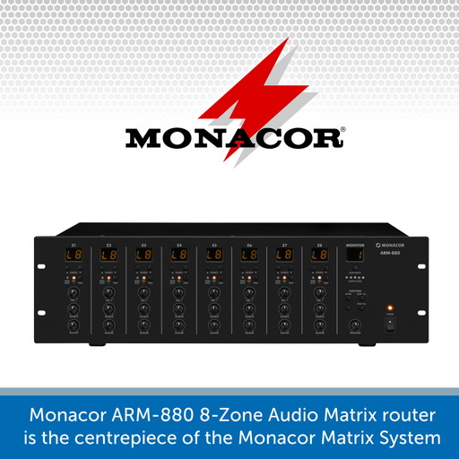 Monacor ARM-880 8-Zone Audio Matrix Router for use in the Matrix system