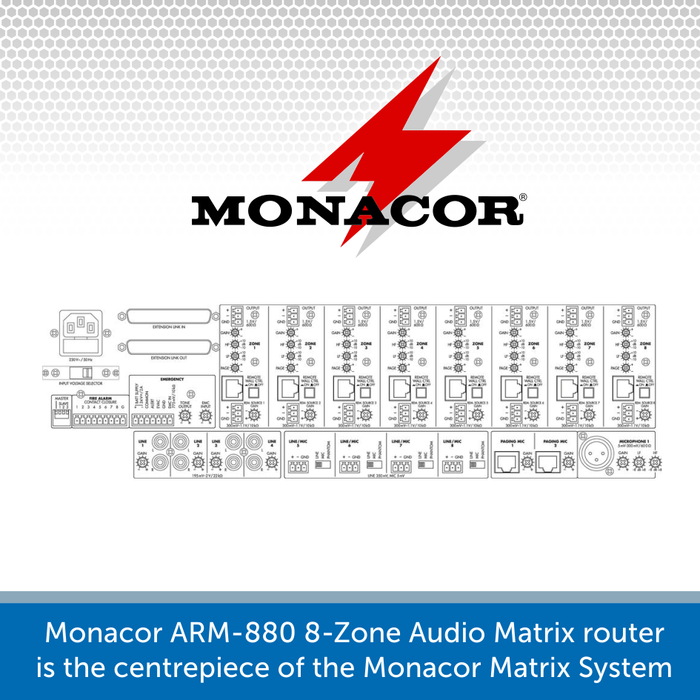 Showing the connection for a Monacor ARM-880
