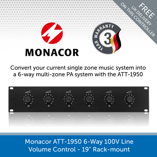 "Monacor ATT-1950 6-Way 100V Line Volume Control - 19"" Rack-mount"