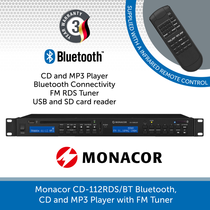 Monacor CD-112RDS/BT Bluetooth, CD and MP3 Player with FM Tuner