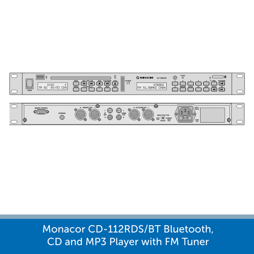 Showing the connections for a Monacor CD-112RDS/BT Bluetooth, CD and MP3 Player with FM Tuner