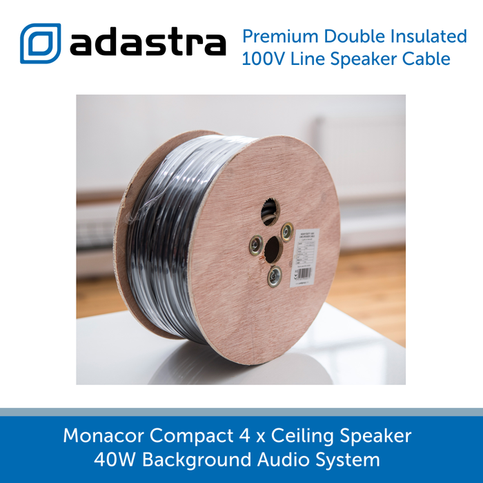 Monacor Compact 4 x Ceiling Speaker 40W Background Audio System