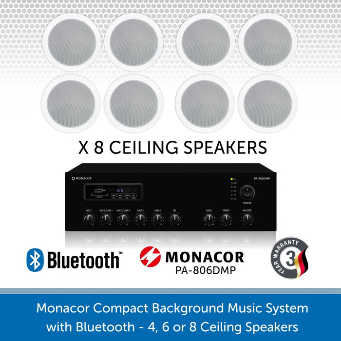 "Monacor Background Music System with four 6"" ceiling speakers & BluetoothMonacor Background Music System with eight 6"" ceiling speakers & Bluetooth"