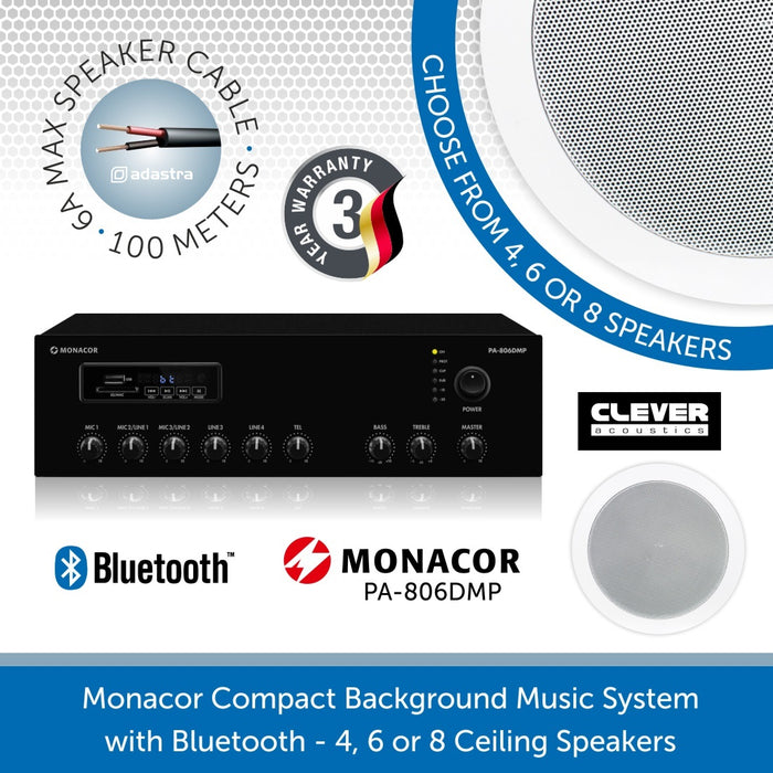 "Monacor Background Music System with 6"" Ceiling Speakers, Bluetooth & FM Radio"