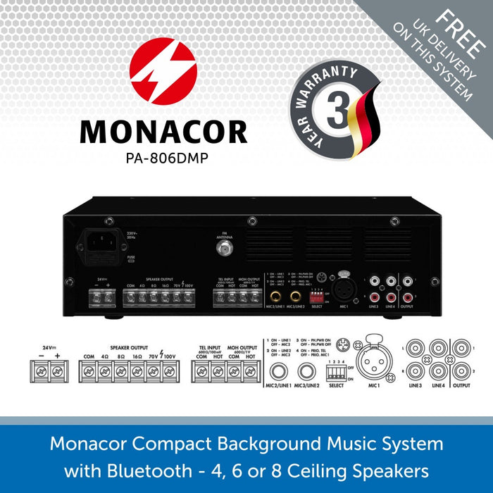 Monacor 60W 100V Bluetooth Mixer Amplifier perfect for small background music systems