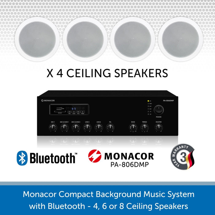 "Monacor Background Music System with four 6"" ceiling speakers & Bluetooth"
