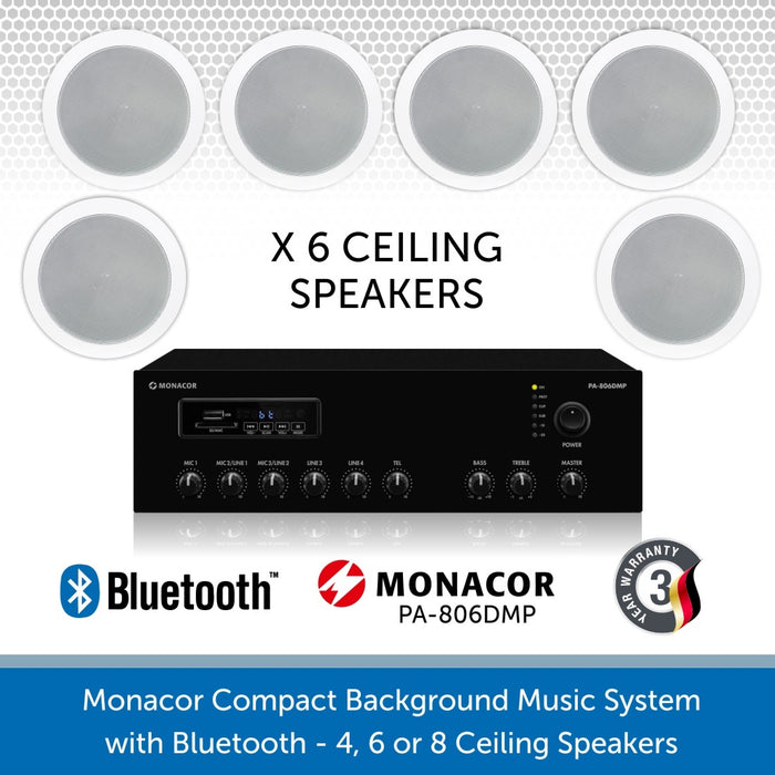 "Monacor Background Music System with six 6"" ceiling speakers & Bluetooth"