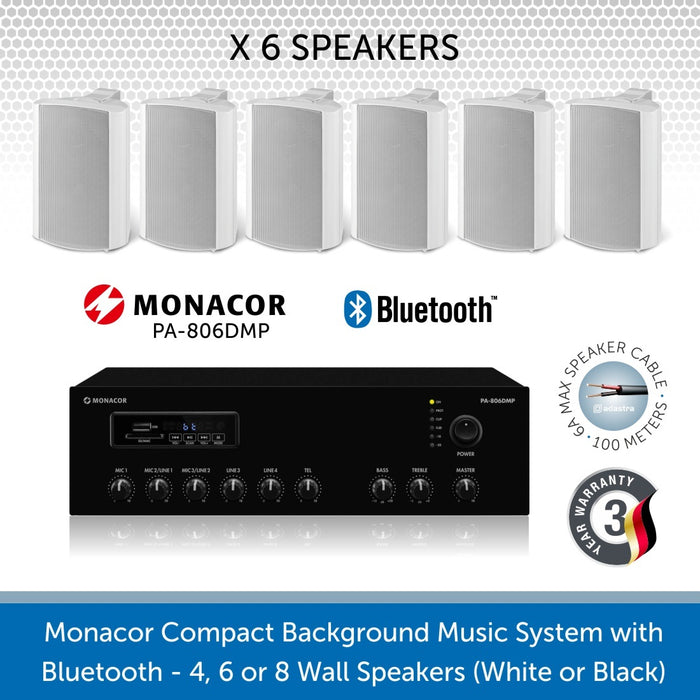 Monacor Background Music System with 6 Wall Mount Speakers in Black or White